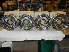"15 X 7""   UNIQUE CHROME  WHEELS RIMS . SET OF FOUR - VINTAGE NOS"