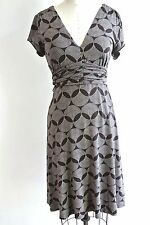 Marks & Spencer Brown Dress Lycra Day work fitted knee length Geometric S-Small