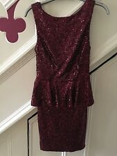 SIZE 6 TOPSHOP BURGUNDY SEQUIN PEPLUM PARTY DRESS TOWIE/XMAS NEW RRP £70