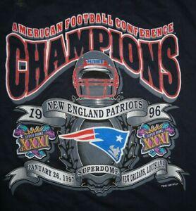 1996 AFC CHAMPS New England Patriots (XL) Shirt Holo SUPER BOWL XXXI New Orleans