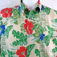 Mens M.E. Sport Hawaiian Floral Camp Cruise Shirt Size Large