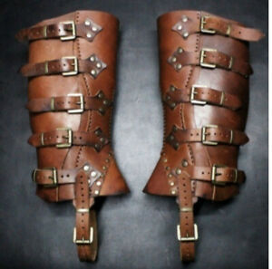 Medieval Warrior PU Shoe Covers Leg Protector Leather Wrap Cosplay Buckle Armor