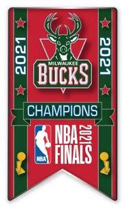 MILWAUKEE BUCKS 2021 NBA FINALS CHAMPIONS PIN BANNER STYLE BASKETBALL CHAMPS!!