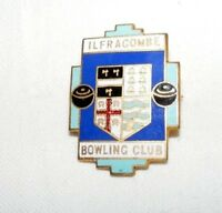 VINTAGE ENAMEL ILFRACOMBE BOWLING CLUB BROOCH / BADGE / PIN