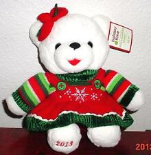 """2013 WalMART CHRISTMAS Snowflake TEDDY BEAR White a Girl 13""""Red/Green Outfit NEW"""