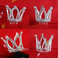 Mini Crown Tiara Hair Combs Clear Rhinestones Crystal Pageant Bridal Party O8K5