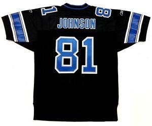 CALVIN JOHNSON AUTHENTIC REEBOK DETROIT LIONS 2007 ROOKIE STYLE BLACK JERSEY