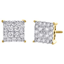 10K Yellow Gold Round Diamond 4 Prong Sqaure Cluster Studs 8mm Earrings 1 Ct.