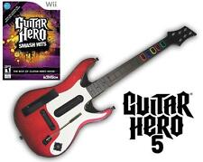 NEW Nintendo Wii Guitar Hero 5 Wireless Guitar & GH Smash Hits Game Bundle RARE