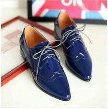 Women's lady Pointy Toe Oxfords Wing Tip Lace Up PU Patent Leather Shoes Size