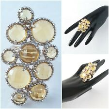 Andara Gold Bubbles Ring Multifacited Yellow Glass Crystal Huge Statement Piece!