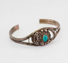 cuff bracelet by M. Davis Vintage sterling silver turquoise Native American