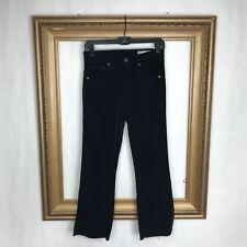 Rag & Bone 26 Black Jeans Velour Velvet 10 inch Flare Rough Edge High Rise Size