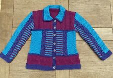 Beautiful Hand Knitted Cardigan 4/5 Years - Pink/Purple/Turquoise Colour Block