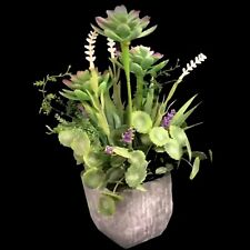 Artificial Plants In Pots Faux Fake Plant Succulent Flowers Grey Pot 31cm New