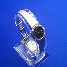 vintage SEIKO Women's Watch Black Oval Dial Two Tone Case SST Strap 5420-5159