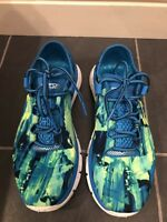 UNDER ARMOUR SPEEDFORM FORTIS WOMENS BLUE/BRIGHT GREEN RUNNING TRAINERS UK 5.5