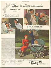 1940's Vintage ad for Thayer Folding Coach baby stroller red dress     092217
