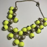 J Crew Statement Necklace Bib gold tone Chain Neon Highlighter Balls Pearl