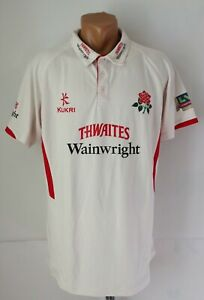LANCASHIRE CRICKET SHIRT JERSEY TOP #1 AJMAL SHAHZAD MATCH WORN? KUKRI MEN'S L