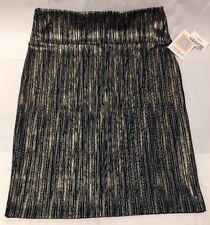 *NEW* LuLaroe Cassie Skirt Sz L Green metallic gold striped pencil Skirt