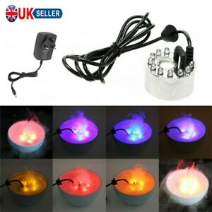 LED Mist Maker Fogger Atomizer Air Humidifier Water Fountain Pond Decor