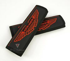 Car Seat Belt Leather Shoulder Pads Covers for Aston Martin Embroidery Red logo