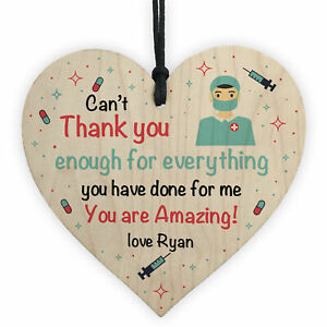 Personalised Thankyou Gift For Nurse Doctor Wood Heart Gift For Him Her Keepsake