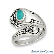 Spoon Floral 925 Solid Sterling Silver Ring w/ Synthetic Turquoise Size 6,7,8,9