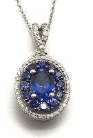 Sterling Silver 925 Oval Blue Tanzanite - CZ Double Halo Fancy Pendant Necklace