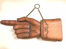 American Folk Art Hand Carved Wood Pointing Hand Directional Trade Sign