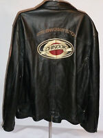WILSONS BLACK HEAVY LEATHER JACKET! EMBROIDERED CHINOOK 40th ANNIVERSARY! 2XL
