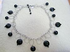 Vintage White House/Black Market Beaded Necklace Silvertone
