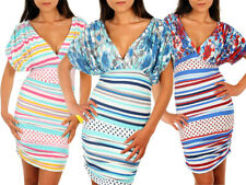 Ladies Summer Sailor Flower Dress Semi- Fitted Style Striped Patterned Top 5918