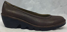 NEW Fly London Size 40 EU 9 - 9.5 US Womens Pump Brown Leather Wedge Shoes