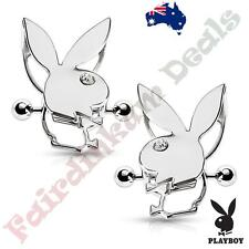 Pair Of Silver Ion Plated Authentic Playboy Bunny Double Tier Nipple Shields