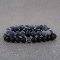 2X Couples His Hers Distance Bracelets Energy Weathering Agate Beaded For Lovers