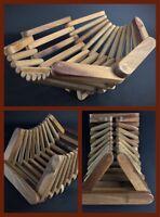 Vintage corbeille articulée de table en bois massif - object curieux et rare