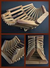 Ancienne corbeille plateau de table en bois noyé massif ARTICULÉ - pièce rare .
