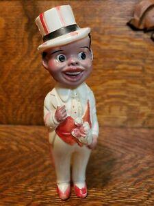 Vintage Antique Celluloid Miniature Black Boy Doll Figurine Tux Top Hat Japan cf