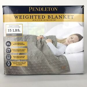 Pendleton Gray 15 Lbs Weighted Blanket w Luxe Quilted Velvet Cover