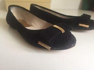 Women's Black Gold Bow Suede 'Delphine' Ballet Pumps by Michael Kors Size 5.5