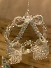 Vtg 3� Wreath Spun Clear Glass Christmas Ornament w/2 Angels Sparkle Beautiful