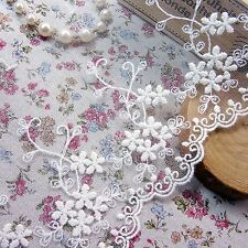 Vintage Style Embriedered Tulle Lace Trim  Fabric Beautiful Flower 12cm Wide 1yd