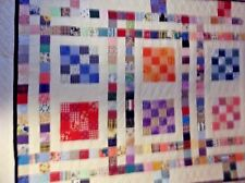 16 PATCHES-handmade Lap/Sofa/Quilt/Throw/bed topper -patchwork- multi-45x60""