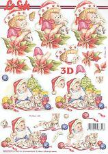 Feuille 3D à découper A4 Enfant bonnet de Noël 8215.559 Decoupage Christmas