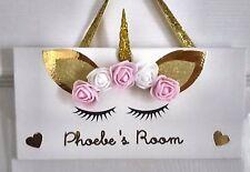 Girls Children Personalised Unicorn Bedroom Door Plaque  Sign Birthday Christmas