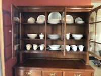 antique china cabinet hutch, Also A Rolling Tea Table, Dishes Are Also Included!
