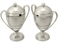 Pair of Sterling Silver Preserve Pots - Antique George V 546g Height 14.2cm