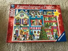 Ravensburger Christmas on Pet Street Jigsaw Puzzle 1000 Piece Dog Cat Complete